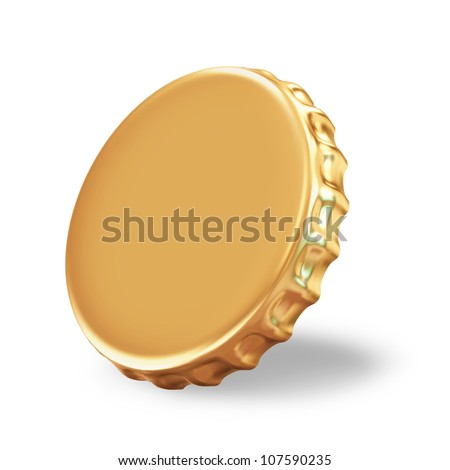 Golden Beer Cap on white background - stock photo