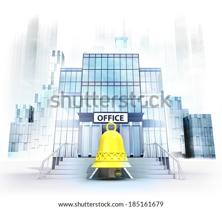 golden bell in front of office building as business city concept render illustration - stock photo