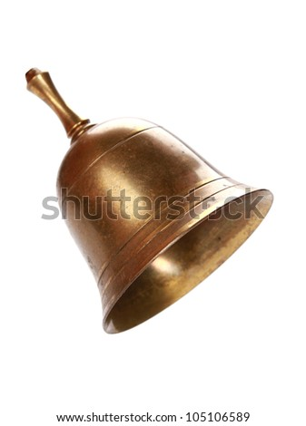 Golden bell isolated on white. With clipping path - stock photo