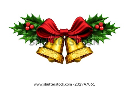 Golden bells with Christmas tree and red ribbon, berries and leafs. - stock photo