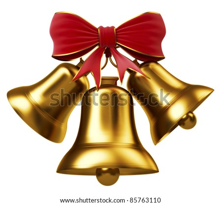 Golden bells with red bow - stock photo