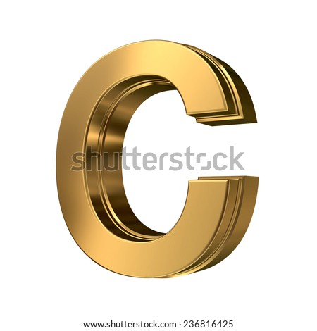 Golden bevel high quality 3d render font type letter C isolated on white , uppercase