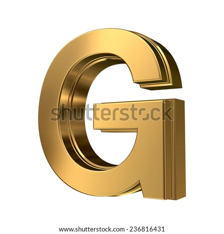Golden bevel high quality 3d render font type letter G isolated on white , uppercase  - stock photo