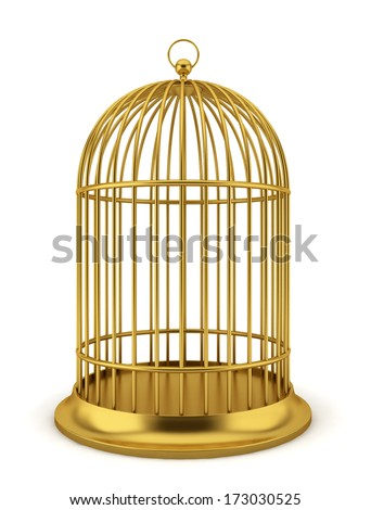 Golden bird cage. 3d illustration on white background  - stock photo