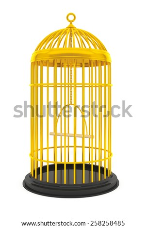 Golden Birdcage Cage on a white background - stock photo