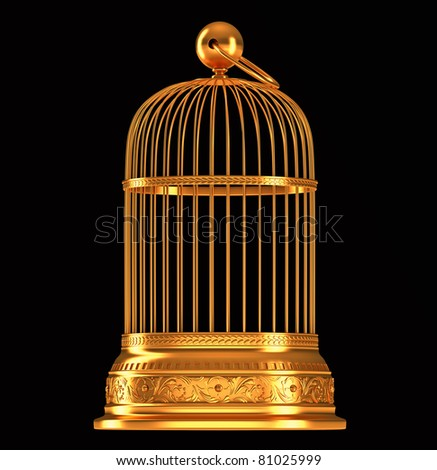 Golden birdcage isolated over black background