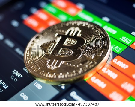 Golden bitcoin coin against digital currency chart, shallow depth of field