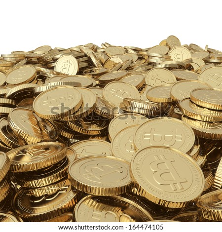 Golden bitcoin coins isolated with clipping path - stock photo