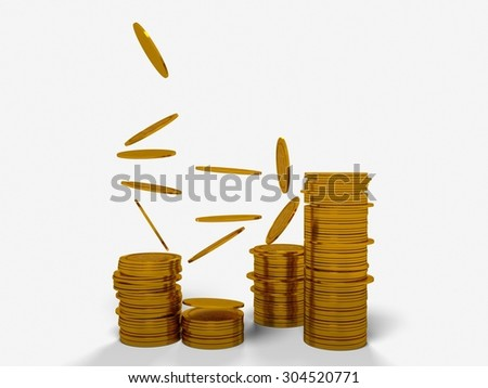 Golden Bitcoin cryptography digital currency coins - isolated with clipping path - stock photo