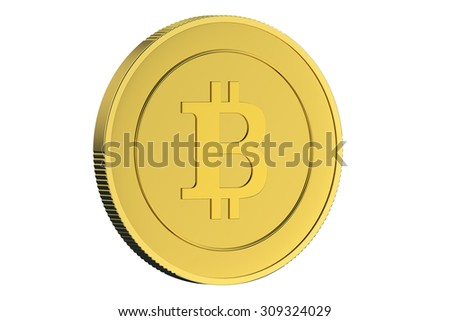 Golden Bitcoin isolated on white background - stock photo
