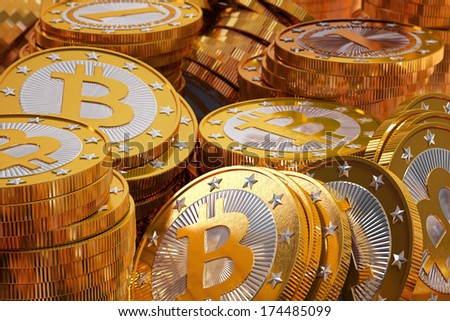 Golden Bitcoins - stock photo