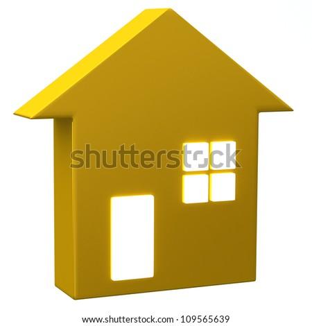 Golden blank house icon 3d - stock photo