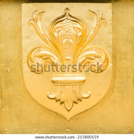 Golden Blazon of Lille, coat of arms, with flowers of lily, France - stock photo