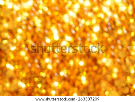 golden blurred abstract background with spangles - stock photo