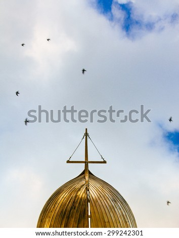 Golden Boat in the Sky - stock photo