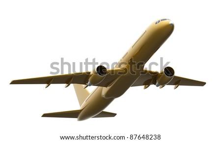 Golden Boeing 757 aircraft - stock photo
