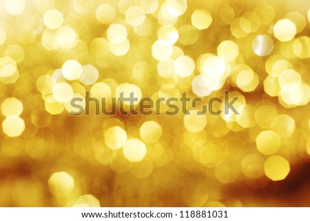 golden bokeh background close up - stock photo