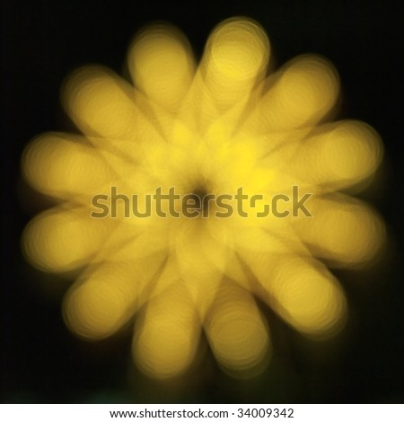Golden bokeh flower - stock photo