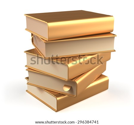Golden books textbook stack five 5 blank yellow gold and bookmark. School studying information content learn icon luxury concept. 3d render isolated on white background - stock photo
