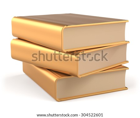 Golden books 3 three textbook stack blank yellow gold manual faq. School library studying information content learn answers icon concept. 3d render isolated on white background - stock photo