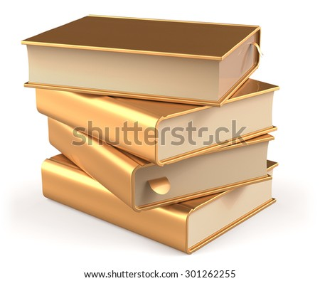 Golden books yellow gold blank textbooks stack and bookmarks. School studying information content learn question answer icon concept. 3d render isolated on white background - stock photo