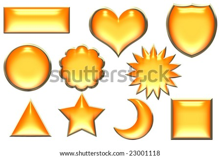 Golden borders orange buttons in different shapes over white - stock photo