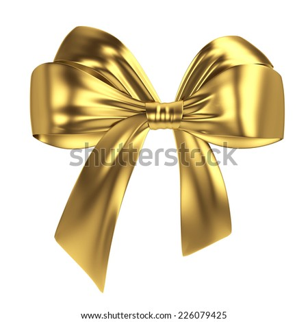 Golden bow. 3d illustration isolated on white background  - stock photo