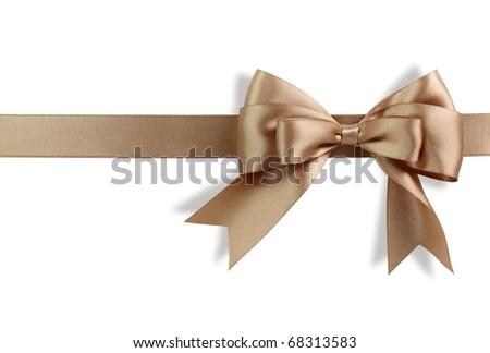 Golden bow isolated on white background - stock photo