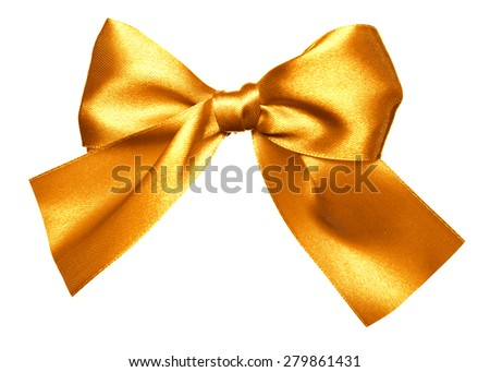 golden bow made from silk isolated - stock photo