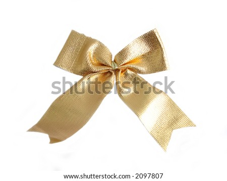 Golden bow on a white background