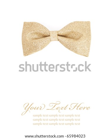 golden bow tie isolated on white background - stock photo
