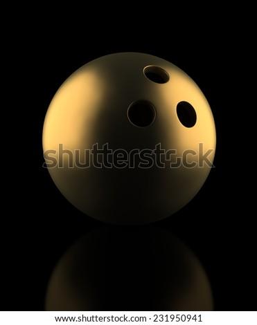 Golden Bowling Ball - stock photo