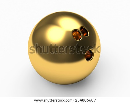 Golden bowling ball on white background - stock photo