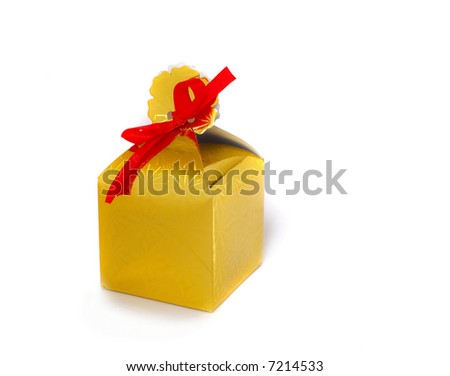 golden box isolated on white