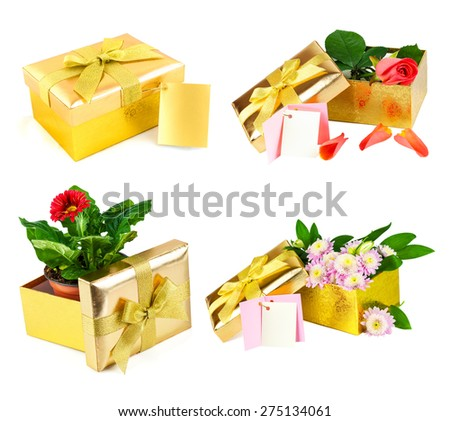 Golden box, spring flowers in the open golden box with card isolated on white background, set - stock photo