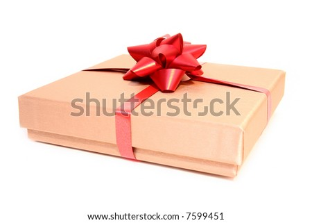 Golden box with a red ribbon isolated on a white background