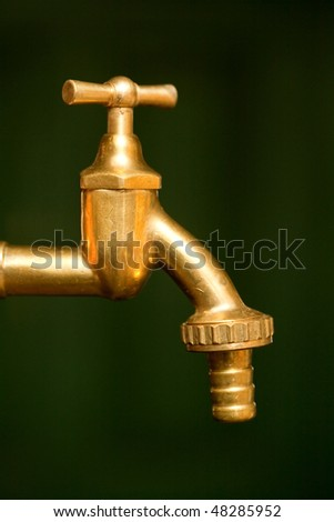 Golden brass water tap over blurred green background