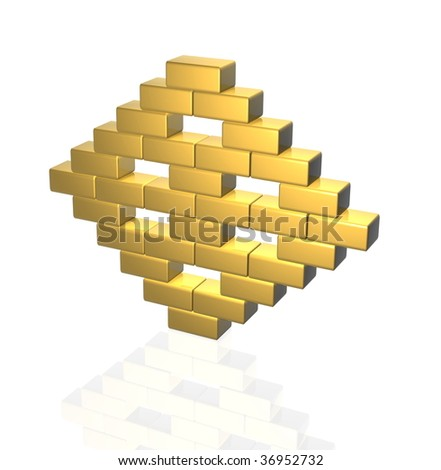 golden bricks - stock photo