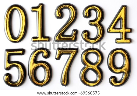 Golden bright numbers on a white background. Numbers 0, 1, 2, 3, 4, 5, 6, 7, 8 and 9. - stock photo