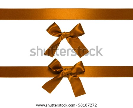 golden-brown horizontal ribbon with bow isolated on white - stock photo