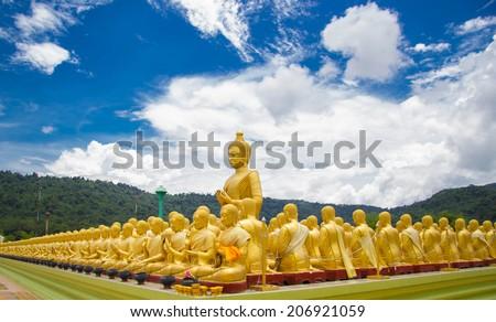 Golden Buddha at Buddha Memorial park , Nakorn nayok, Thailand. - stock photo