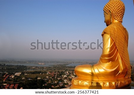 Golden Buddha at Phra Chula Manee Pagoda in Nakhon Sawan Province ,Thailand - stock photo