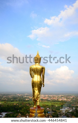 Golden buddha at Wat Phra That Kao Noi, that built during the 23rd-25th Buddhist centuries. Landmark of Nan, THAILAND. - stock photo