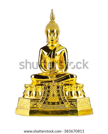 golden Buddha.Buddha on a white background. - stock photo