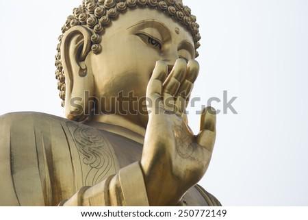 Golden buddha closeup - stock photo