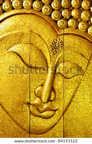Golden Buddha face from Chiang Mai, Thailand - stock photo