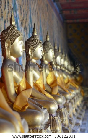 golden buddha / golden buddha statue in temple thailand