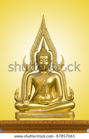 Golden buddha image in Marble temple, Bangkok, Thailand