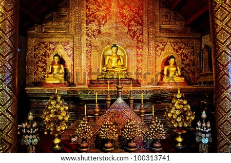Golden buddha Images in the ancient temple (PHRABUDDHASIHING OR PHRASINGH Which is in Pharwihan LaiKam (National Ruins) was built by The King of Srilungka at B.E.700) - stock photo