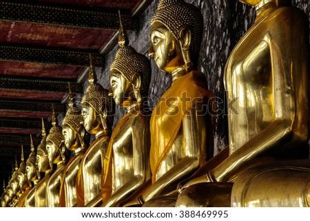 Golden buddha images in Wat Suthat, Bangkok